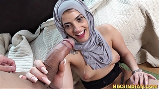 Indian Muslim girl in Hijab fucked rough by her Gym trainer