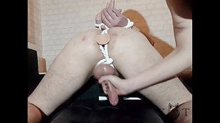 Tied up with a Dildo in His Ass and Milked (KWolft)