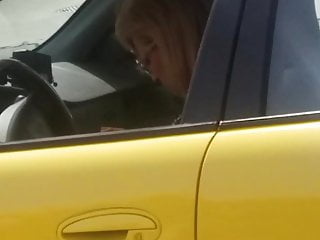 Woman pumps gas nude Peeping at the gas pump