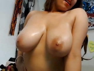 Large sexy beach blanket towel - Large sexy natural hanging tits on brunette