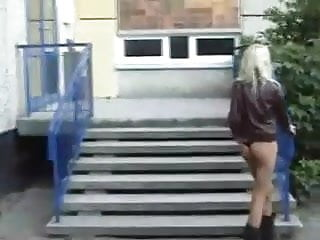 Blond teen masterbates - Blonde slut masterbates in public by snahbrandy