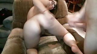 Big-glasses brunette 2 bodyshots