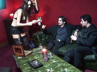 Sexy men and there long penises Brunette whore claudia adams sitting on a long dong while men touch her around