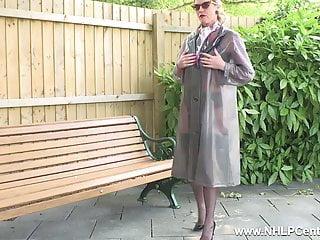 Kinky milf 3some Kinky milf wanks openly on bench in nylons garters heels