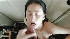 Chinese girl looks at the camera and asks to be fucked