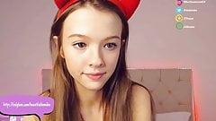 Cute camgirl Demi Dee spit play and ahegao
