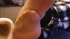 Wife nylon feet