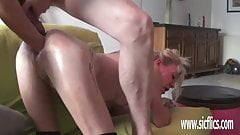 Double fist and dildo fucking her huge holes