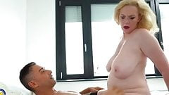 Blonde mature making love