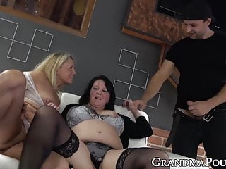 Craving threesome - Threeway with two slutty grannies craving for young dick