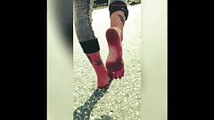 Dirty Soles out of Heels in Public