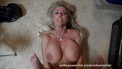 Busty Blonde Wifey Swallows Cum
