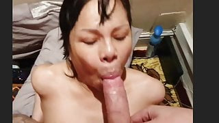Spunk hungry asian  fucked bareback and jizzed on the face