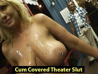 Bukkake previes Cum covered theater slut