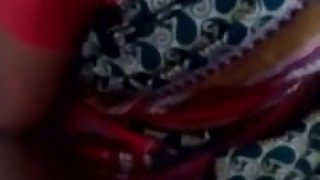 Satin Silk Saree maid enjoying