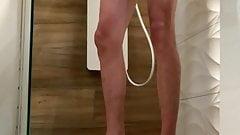 Hot big cock skinny guy shower and cumshot