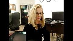 Blonde secretary shows at work.mp4