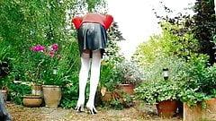 Black Leather Miniskirt White Nylon Stockings