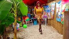 TROPICAL SLUT 1 CD Crossdresser big tits dancing Motel Beach
