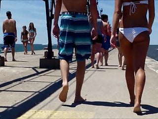 Nude beachs michigan Candid beach bikini butt ass west michigan booty teen