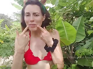 Sexy strip tease by mom - Singing feliz navidad and sexy red bikini strip tease