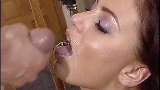 Brunette hottie blows a big hard cock