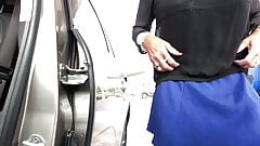 Blue Skirt at the Gas Statio