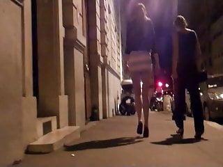 Micro skirt sluts - Brunette in micro skirt goes to night club