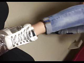 Sneaker lick Chinese sneaker sock footjob