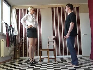 Femdom spanking humiliation video The merciless aunty fm spanking