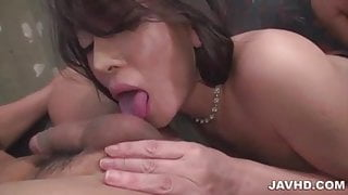 Busty Kokona Sakurai goes wild on two cocks