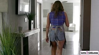 Busty milf makes petite stepdaughter squirt and is fingered