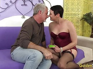 Short haired mature - Short haired mature beauty kali karinena rides an old dick