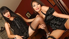 Thai lesbians, Mintra and Rewedy are using a strap- on