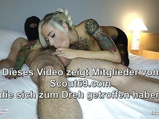 Condoms tattoos - German client condom off and cum on pussy by german hooker