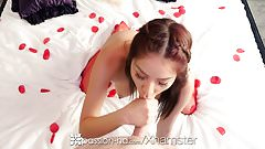 PASSION-HD Asian Samantha Parker facialed on Valentines Day