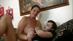Dude gets wanked by best bud's mom and cums too quickly