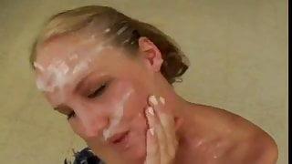 bukkake reward for cute blonde