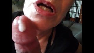 Grandma sucking dick till cum