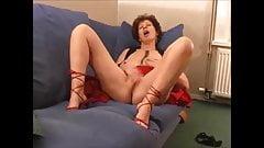 Very hot grandma in high heels masturbating, moaning and cumming