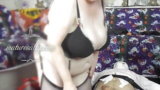 Naughty granny witch plays with cock