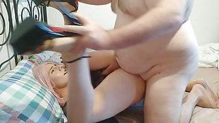 Crossdresser Sissy in High heels fucked by chubby daddy
