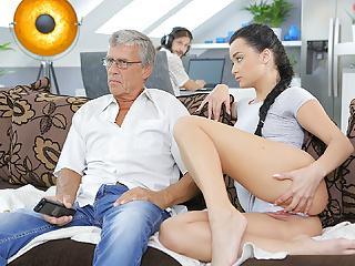 DADDY4K. Grey-haired old man with glasses fucks beautiful...