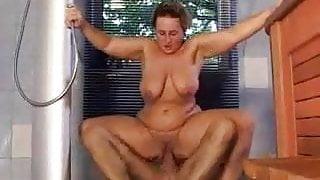 nice step mom with saggy tits hard-fucks the pool