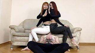 Kira and Sofi Take Turns Facesitting in White & Black Jeans