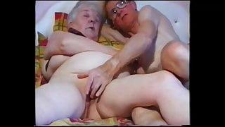 Horny  grandma and grandpa watching porn