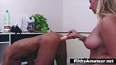 A whore and her slave who love pissing will break their asse