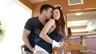Horny Redhead Teen Maid with freckles Seduce Boss to Raw Sex