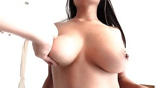 Beautiful big natural Asian boobs win my creampie