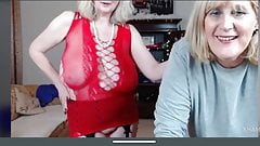 Two blonde grannies with saggy tits French kiss and show pussies